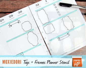 """MAMBI Tags, Frames and Boxes Stencil, Fits Happy Planner, Journal Stencil 5.25"""" by 8"""""""