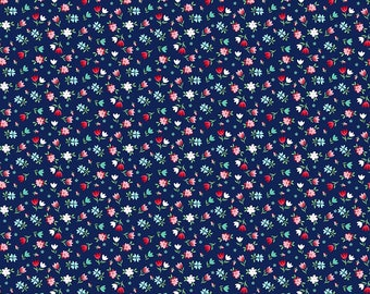 A Little Sweetness Knits by Riley Blake - Sweetness Floral Navy - Cotton/Spandex Knit