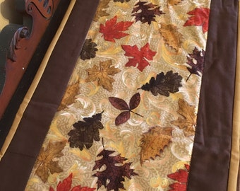 Metallic Fall Leaves quilted tablerunner
