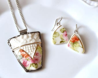 Broken China Jewelry Pendant and Earring Set- Pink Roses