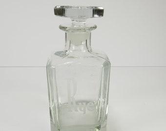Carafe en verre vintage seigle avec carafe bouchon rétro en verre bouteille seigle Mid Century seigle clair verre liqueur Carafe décoratif