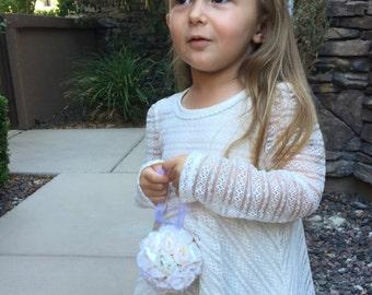 "Silk Rose Pomander, Toddler Flower Girl, 3 1/2"", Kissing Ball, Bouquet, Wedding Decorations, Home Decor"