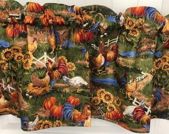Down on the farm hens Chickens pumpkin curtain valance