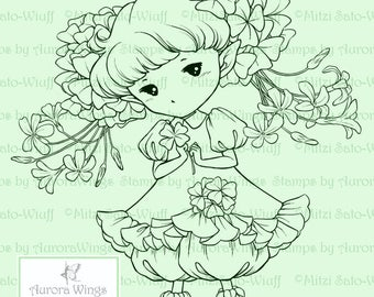 Shamrock Sprite - Aurora Wings Digital Stamp - Whimsical St. Patrick's Day Fairy - Fantasy Line Art for Arts and Crafts by Mitzi Sato-Wiuff