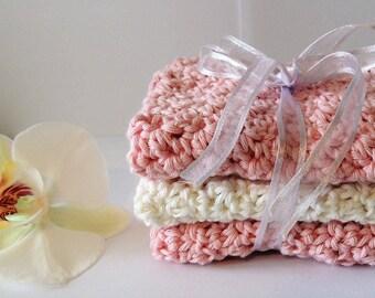 Pink Crochet Washcloth Set