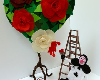 Alice in Wonderland Sculpture - Home Party Decor - Wedding, Bridal Shower, Baby Shower, Birthday decorations - Painted Roses & Card - Disney