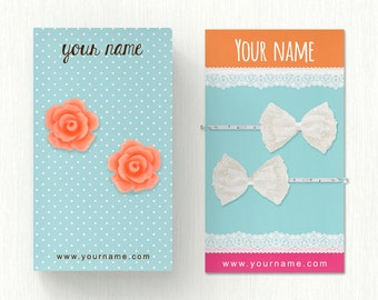 Display Cards  Custom  Earring Cards  Hair Bow Cards  Business Cards  Jewelry Tags  Jewelry Display  Custom Tags