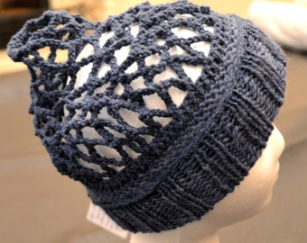 Knit hat with crocheted net for long hair or dreds