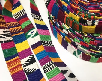 Hand-Made multi color Strapping. White/multi color design, Hand Loomed Textile, 3 Yard Piece. Guatemala