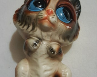 BIG EYED Cat, ceramic knicknack, figurine, Norleans, Japan, Cat Decor, FREE Shipping