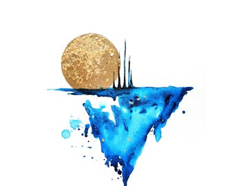 Abstract Moon Print
