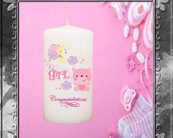 It's a Girl Pillar Candle
