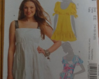 Sewing Pattern Mccall's 5626 Misses' tunics size 14 to 20