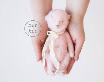 Pink Mohair Teddy Bear DIY Kit 7 Inches, Stuffed Animal Sewing Kit, Soft Toys Craft Kit, Artist Teddy Bear, Crafter Gift, Ready To Ship