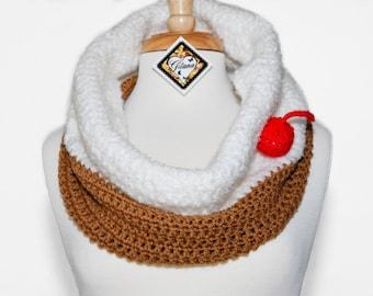 Cupcake Crochet Cowl- Crochet Scarf- women Scarf- Food Scarf- Neck Warmer- White- Cupcake Scarf