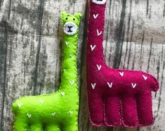 Handmade felt Llamas - various colours
