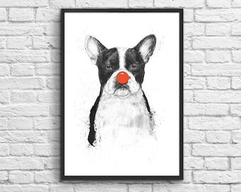 Art-Poster 50 x 70 cm - Clown Dog