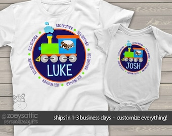 Big brother little brother shirts matching sibling shirts for the train lovers MTRAN-013-set