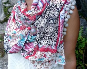 Floral Chiffon Shawl, White Pink Pompom Scarf, Large Chiffon Scarf, Sheer Shawl Wrap, Rose Print Scarf, Beach Cover Up, Women Fashion