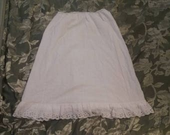 Vintage Cotton Slip/Antique Lace Undergarments/Reenactment Gear/Womens/ Victorian/Hoop Skirt/Square Dancing/Used/White/