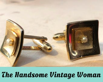 Gold and Pearl Square Cuff Links, Speidel Mid Century Modern Gold Cuff Links