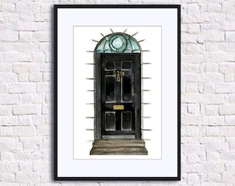 Sherlock bbc 221B Baker Street Door Sherlock Holmes Poster Geek Gifts Original Watercolor Home Wall Print