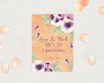 Save The Date Cards in Peach & Purple / PRINTED Save-The-Date for Spring Weddings