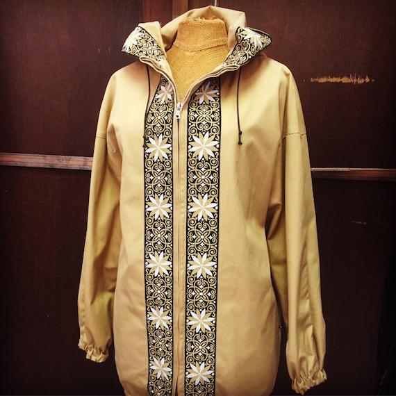Vintage fall jacket/mab och mya/hettemarks/made in Sweden/1960s/traditional folk embroidered trim/folk art