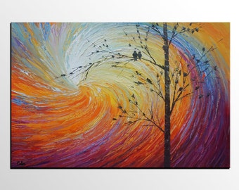 Love Birds Painting, Large Abstract Art, Canvas Painting, Modern Art, Rustic Wall Art, Canvas Art, Abstract Art Painting, Original Painting