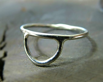 Sterling Silver Half Circle Ring - sterling knuckle ring / silver band ring