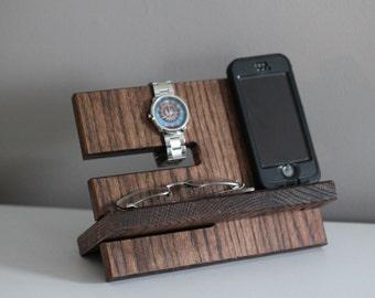 Large Wallet Model C Apple Watch Night Stand Oak Wood Valet