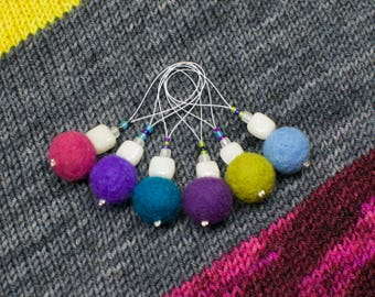 6x Stitch Markers - Snag Free Multi Colour Knitting Notions