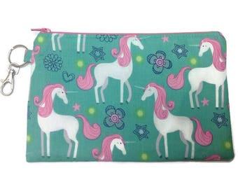 Unicorn Zipper Pouch ~ Fabric Zipper Case ~ Fabric Zipper Pouch ~ Makeup Pouch ~ Pencil Pouch ~ Unicorns ~ Fantasy
