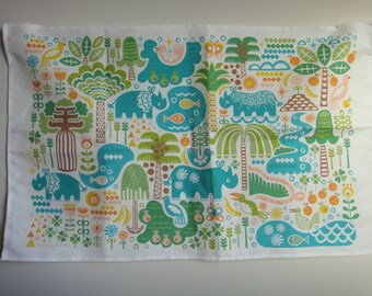 "Linen-Cotton Tea Towel ""Rhino Habitats"" Gift Children Cook Wall Art Folk Midcentury Retro Vintage Scandinavian Tropical Jungle"