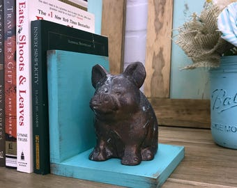 Bronze Pig Figurines Set of Bookends//Blue Verdigris Bronze Pig Book Ends//Farmhouse Decor//Gifts for Her//