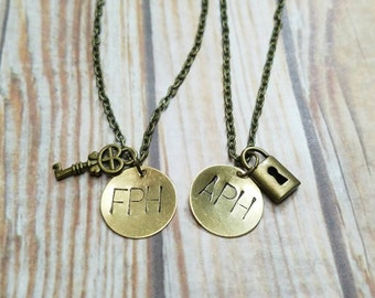 Lock and Key Necklace Set - Custom Initial Necklaces - Couple Necklace Set - Best Friend Necklaces - Valentines Day Gift