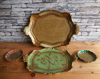Vintage set of Italian trays with 2 coasters