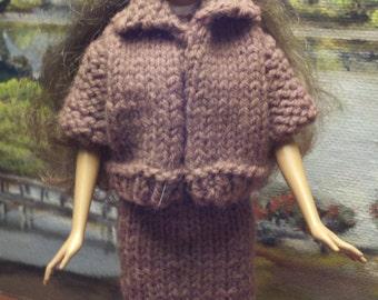 Barbie Two Piece Brown Knit Suit