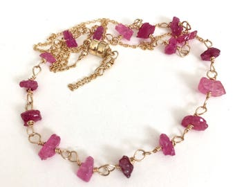 Raw Pink Sapphire Necklace September birthstone