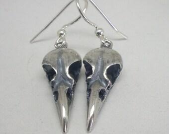 Tiny Raven Skull Earrings, Sterling Silver