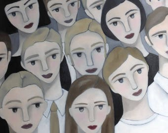 PAINTING original painting in oil on canvas - portrait pattern - handmade - 100% made in France, CurioUS