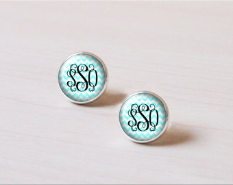 Mint green chevron, zig zag, wave, circle Monogram personalized customized Silver Earring stud, Earring clip