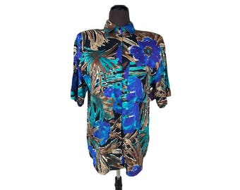 Vintage 1980s Jessica Stevens Vibrant Abstract Tropical Print Rayon Blouse (Size Medium) NWT / Fern Print