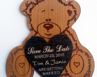 Wood Save-The-Date Magnets (10)/   Personalized wedding magnet/ Bear Save the Date magnet/ save the date heart/ romantic save the date favor