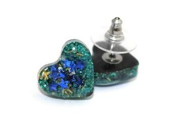Galaxy Earrings Glitter Heart Stud Earrings Cute Kawaii Sweetheart Earrings Valentine's Day Gifts Love Heart Presents