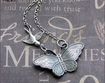 Butterfly Necklace Pendant Silver Butterfly Charm Butterfly Wings Jewelry Bridesmaid Wedding Necklace Sparrow Necklace With Butterfly Gift