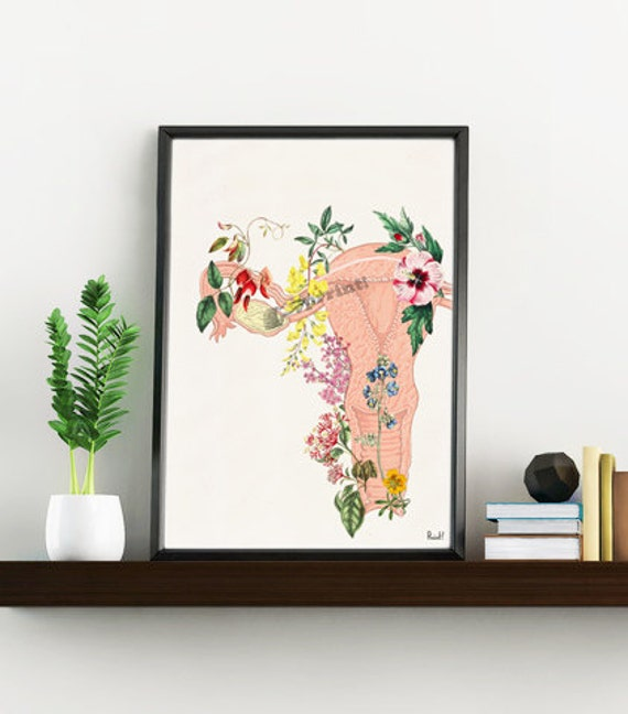 Flowery uterus feminist collage Woman gift Medicine student gift- Wall decor art, Anatomical home Pregnancy gift SKA111WA4