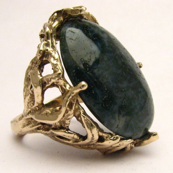 Handmade 14kt Gold Green Moss Agate Massive Claw Ring