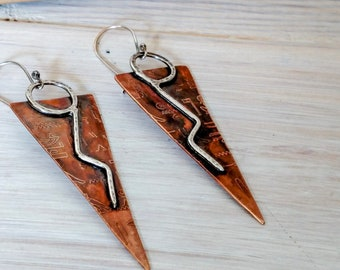 Bronze Anniversary gift for her | Anniversary earrings | 8th anniversary gift | Egyptian earrings | Bronze earrings | shoulder dusters