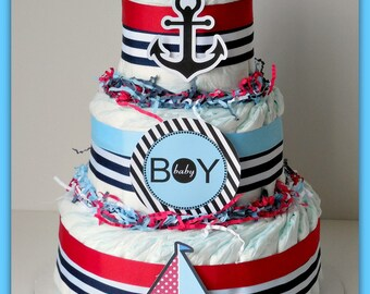 Nautical Diaper Cake, Nautical Baby Shower , Sailboat Theme, Baby Shower  Decorations, Nautical Mini Diaper Cakes